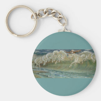 *Horses of Neptune* by Walter Crane Basic Round Button Keychain
