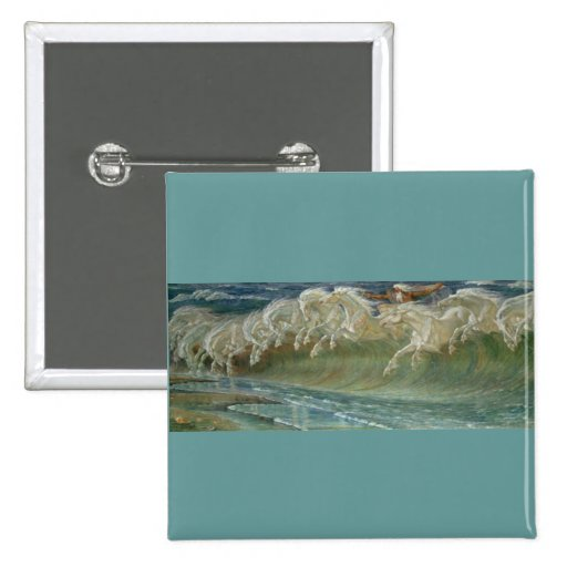 *Horses of Neptune* by Walter Crane 2 Inch Square Button