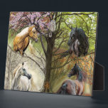 """Horses of the Four Elements Art Plaque<br><div class=""""desc"""">Horses of the Four Seasons was commissioned by my client Joseph from Portugal. Joseph told me of his love for nature and horses. He offered me the freedom to depict my own choice of horse models. I realized that a tree could be the central theme in the seasons as trees...</div>"""