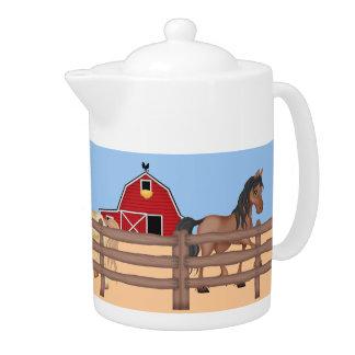 Horses on a Farm Teapot