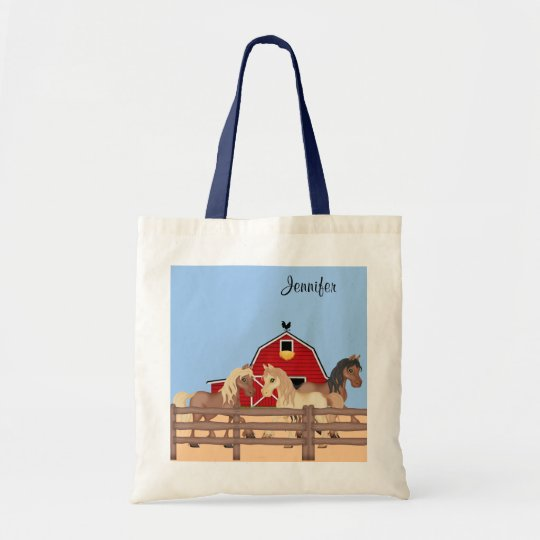 Horses on a Farm Tote Bag