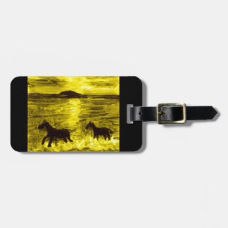 Horses on a Golden Seashore Luggage Tag