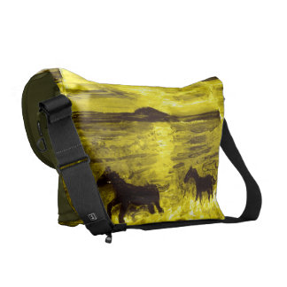 Horses on a Golden Seashore Messenger Bag