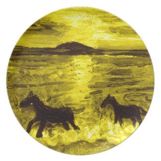 Horses on a Golden Seashore Plate