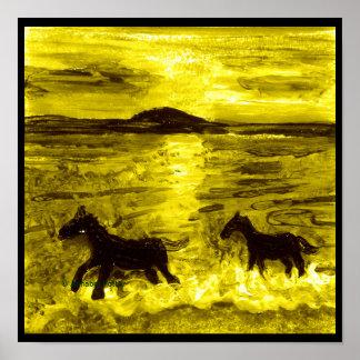 Horses on a Golden Seashore Poster