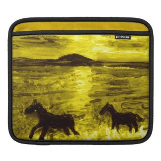 Horses on a Golden Seashore Sleeves For iPads