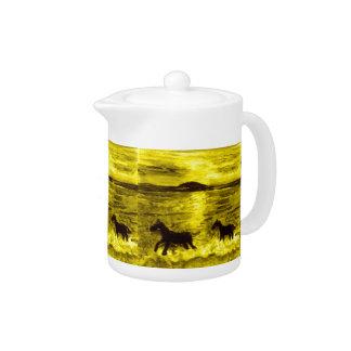Horses on a Golden Seashore Teapot