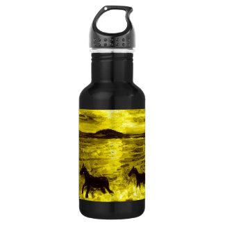 Horses on a Golden Seashore Water Bottle