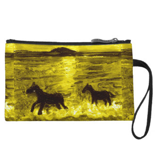 Horses on a Golden Seashore Wristlet Wallet