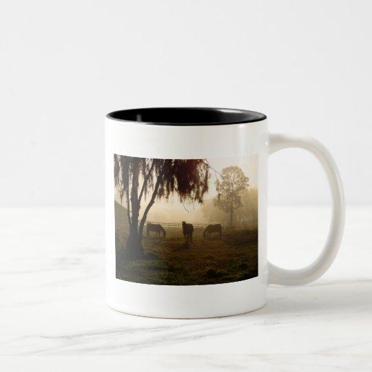 Horses on a Misty Morning Two-Tone Coffee Mug