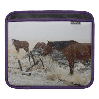 Horses on A Snowy Day - by old cart and fence post iPad Sleeve