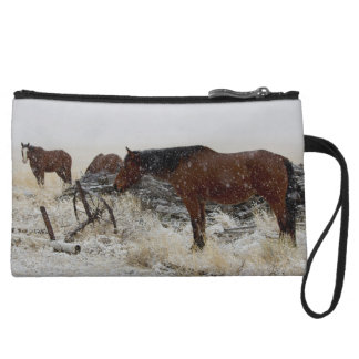 Horses on A Snowy Day - by old cart and fence post Wristlet Wallet