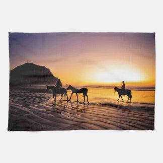 Horses on Beach at Sunrise Kitchen Towel