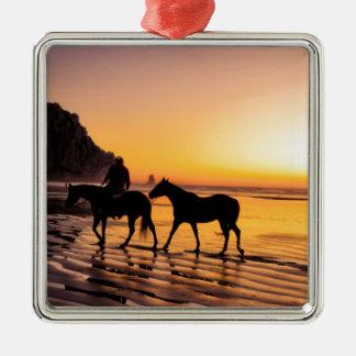 Horses on Beach at Sunrise Metal Ornament