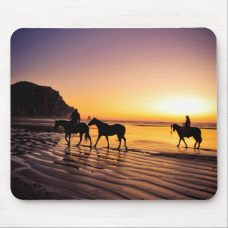 Horses on Beach at Sunrise Mouse Pad