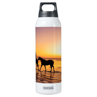 Horses on Beach at Sunrise 16 Oz Insulated SIGG Thermos Water Bottle