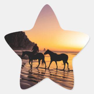 Horses on Beach at Sunrise Star Sticker
