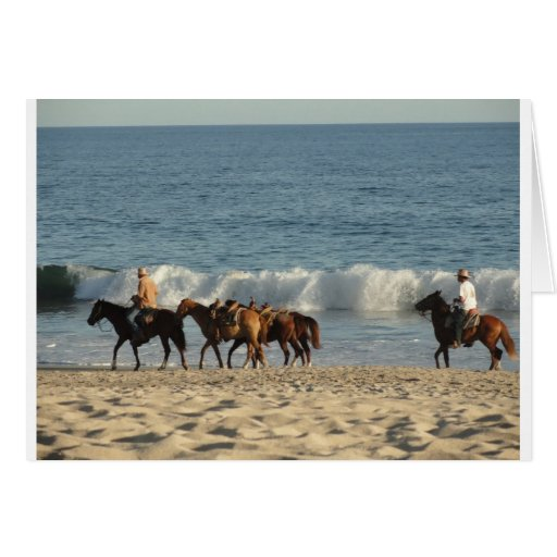 Horses on Beach Greeting Card