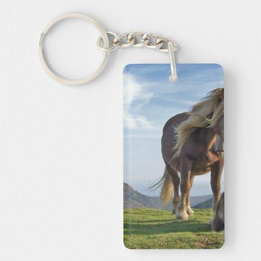 Horses on Bianditz Mountain, Spain Rectangular Acrylic Keychain
