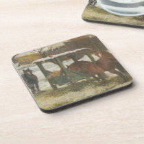 Horses on Christmas Day Beverage Coaster