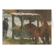Horses on Christmas Day Card
