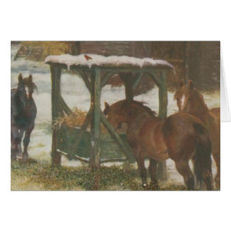 Horses on Christmas Day Greeting Cards