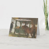 Horses on Christmas Day Holiday Card