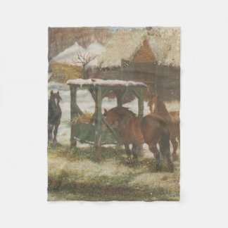 Horses on Christmas Day Fleece Blanket