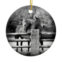 Horses on Farm Field Together Ceramic Ornament