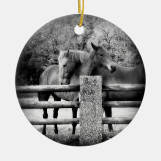Horses on Farm Field Together Double-Sided Ceramic Round Christmas Ornament