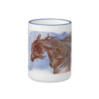 Horses On Lapis Lazuli Watercolor Wash Coffee Mug