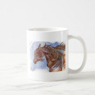 Horses On Lapis Lazuli Watercolor Wash Mugs