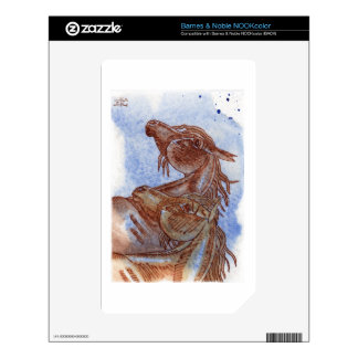 Horses On Lapis Lazuli Watercolor Wash NOOK Color Decals