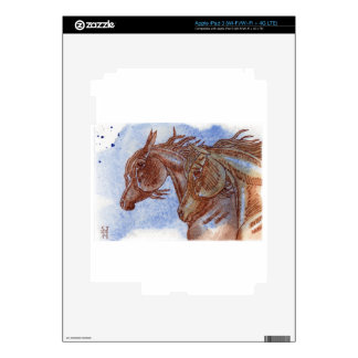 Horses On Lapis Lazuli Watercolor Wash Skins For iPad 3