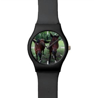 Horses on pasture wrist watch