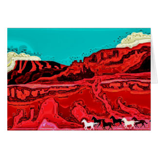 Horses on Plain Greeting Card
