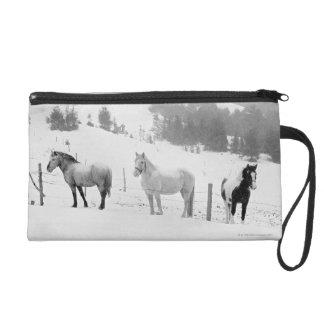 Horses on ranch wristlet