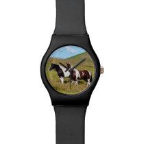 Horses on the hillside wrist watch