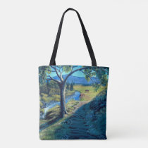 Horses on the range with foal, colt filly baby tote bag