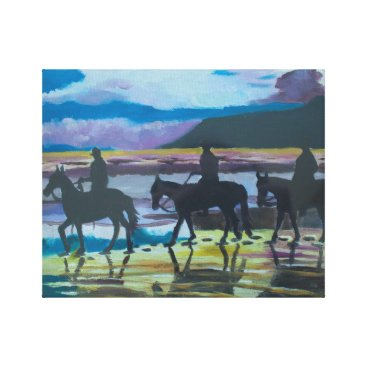 Beach Themed Horses on Waterfoot Beach by Joanne Casey Canvas