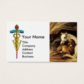 HORSES, OTHER ANIMALS ,CADUCEUS VETERINARY SYMBOL BUSINESS CARD