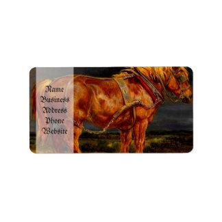horses paintings oil label