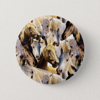 Horses pattern pinback button