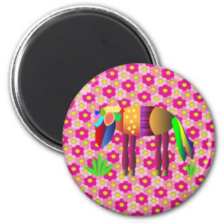 Horses: Pinata Pony in the flowers field 2 Inch Round Magnet
