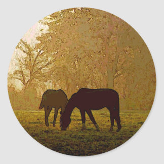 Horses Pop Art Classic Round Sticker
