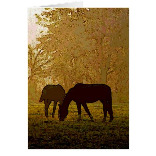 Horses Pop Art Greeting Card