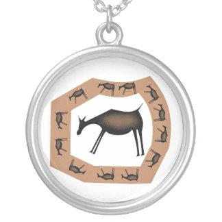 Horses Primitive custom silver pendant