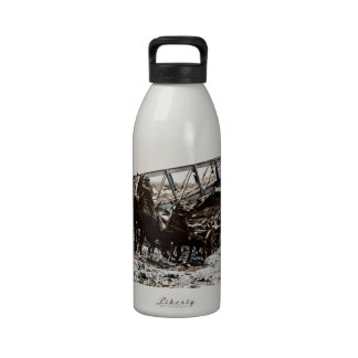 Horses Pulling Artillery Wagons WWi Reusable Water Bottle