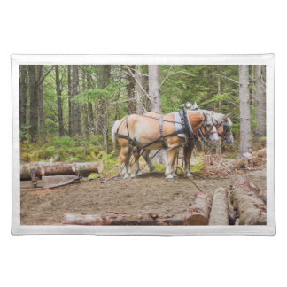 Horses Pulling Logs In Woods of Maine Cloth Placemat