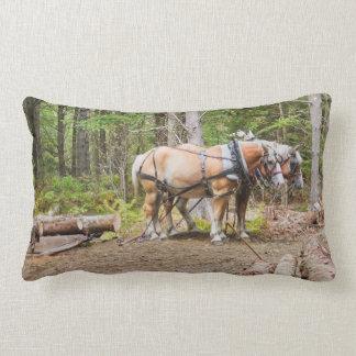 Horses Pulling Logs In Woods of Maine Lumbar Pillow